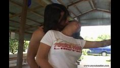 Cute Asian girl fingered and fucked outdoors